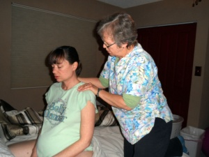 Getting a massage from Mary Ann